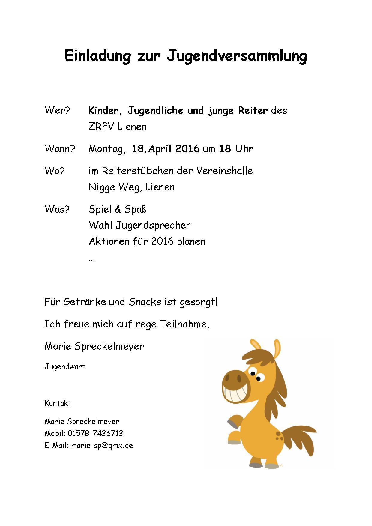 Einladung Zur Jugendversammlung Am 26 Juli 2016 Zucht Reit